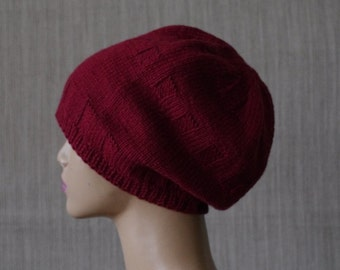 Red Burgundy Extra fine Italian merino wool, Hand Knit,Slouchy  Beanie Hat for Men or Women.