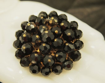 """Vintage Bead Cluster Brooch - Black Glass Brooch Pin - Miriam Haskell Style Wired Beads - Faceted Iridescent Beads - 1.5"""" across 3/4"""" dome"""
