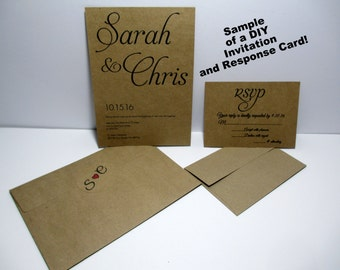 KRAFT Wedding Invitations, Kraft Card Stock, Kraft DIY Invitation Cards/Envelopes, Personalized Initial Seals,  Response Cards/Envelopes