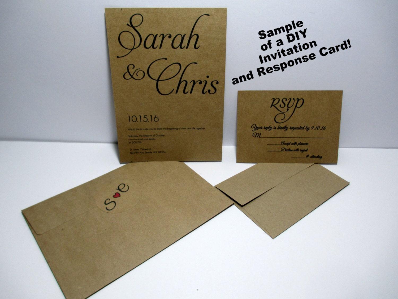 Diy Kraft Paper Wedding Invitations: KRAFT Wedding Invitations Kraft Card Stock Kraft DIY