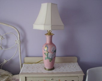 "Hand Painted Porcelain Lamp with ""relief"" bird and Hydrangea flowers"