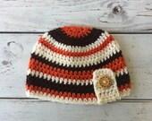 Baby boy crochet hat with button- striped brown cream burnt orange