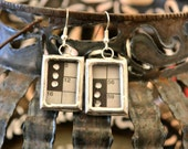 STEAMPUNK Earrings Crossword Puzzle Rhinestone Soldered Silver Glass Bling 3