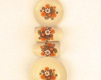 Orange Daisy Ceramic Cruet Set