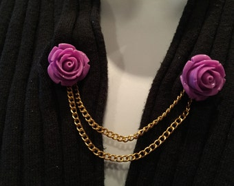 Sweater Pins: Deep Purple Rose with Double Rose Gold Chain