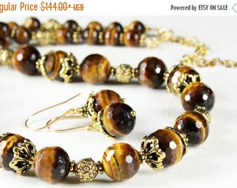 SALE 30% OFF, Tiger Eye Necklace, Antique Gold Pewter, TierraCast, semi precious, natural, golden-brown gemstone, fashion statement necklace