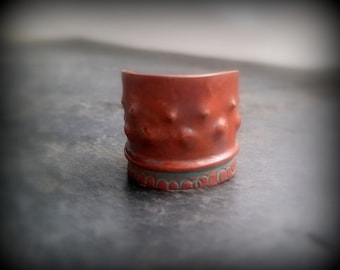 Handmade Copper Ring - fold formed, hammered, adjustable ring by RECREATE4U