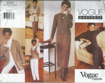 Vogue Wardrobe Pattern Vogue 2030 Misses 8-10-12 Jacket Vest Dress Top Skirt Pants UNCUT