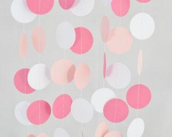 Baby Pink White & Bright Pink Circle Garland 10ft Long, Wedding Decor,Bridal Shower,Birthday, Baby Shower,Nursery Garland