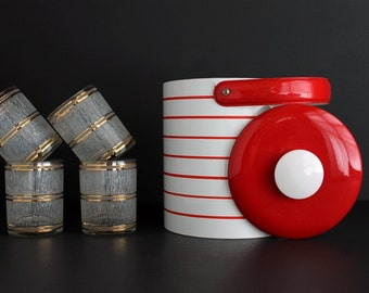 Vintage Mid Century Mod Georges Briard Ice Bucket White and Red Striped High Gloss Shiny Vinyl