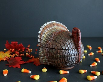Vintage Thanksgiving Turkey Hand Painted Large Covered Candy Dish Fall Holiday Home Decor