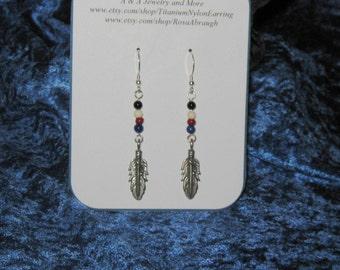 Sterling Silver Feather Earrings,Cherokee Color Bead Feather Earrings,Feather Jewelry, Silver Jewelry, Feather Earrings, Feather Jewelry,