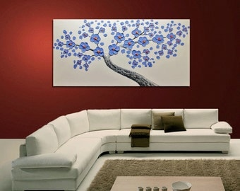 Oil painting Purple flower Blooming Tree Heavy Palette Knife