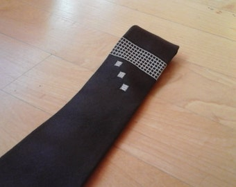 1960s Brown Mid Century Modern Mens Skinny Necktie