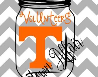 Tennessee Volunteers Mason Jar Multi-Layer SVG Digital Cut File