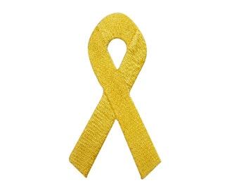 ID #7288 Yellow Ribbon Awareness Iron On Embroidered Patch Applique