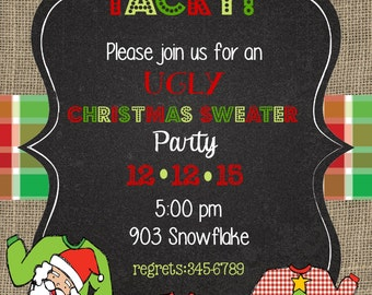 12 Christmas Holiday Party Invitations with envelopes -Ugly Christmas Sweater