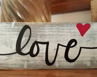 Love ( with small heart) - vintage wood sign