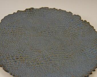 Textured ceramic platter, stoneware platter, serving platter, display platter