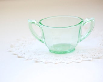 Green Glass Double Handled Sugar Bowl