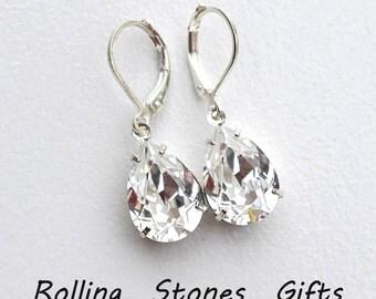 925 Sterling Silver, 14x10mm Pear, Swarovski Earrings, Crystal Dangle Earrings, Crystal Teardrop, Swarovski Leverbacks, Bridal Earrings