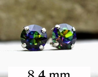 Azalea Swarovski, Xirius Crystal Stud, Earrings, 8.4mm Studs, Rhodium Plated Settings, Rhinestone Studs, Rainbow Studs, Studs in Settings,
