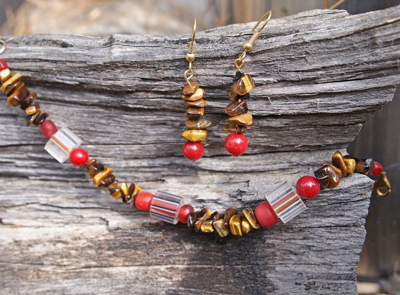 Tiger eye and cane glass bead bracelet and earrings set