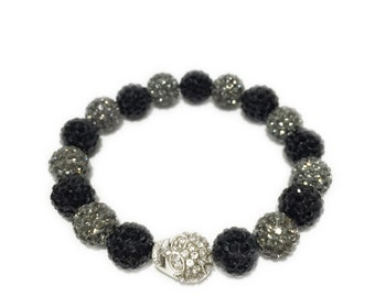NEW Silver Rhinestone Skull Men's Bracelet Black Grey Beaded Unisex Hip Hop