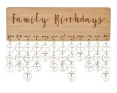 Personalised Family Birthday Calendar, Natural, birthday gift. Engraved discs.