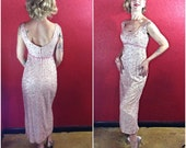 Reserved 1950s 1960s Pink Sequin Hand Beaded Gown Cocktail Dress Small Medium