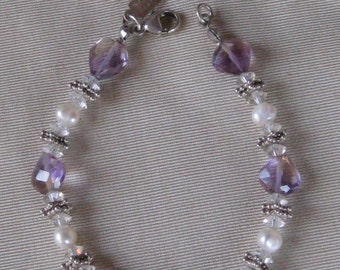 Vintage Beaded Artisan-Made Bracelet - Clear Purple Stones, Faux Pearls, White Metal Spacers - Jewelry, Accessories