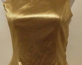 Vintage Golden Evening Sleeveless Top