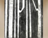 original painting trees impasto textured black & white minimalist 20x20 FREE SHIP