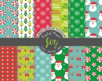 Christmas Digital Paper: JOY, 12x12, Digital Scrapbooking Paper, Santa, Candy Cane, Set of 12 Papers