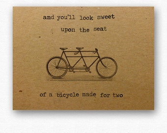 Tandem Engagement Wedding card // eco card typography // bicycle love print // kraft card // anniversary greetings cards // for husband wife