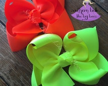 Big Neon Bow, Big Neon Hair Bow, Big Bright Bow, Big Hair Bow, Big Southern Bow, Gift for Girl, Girls Gift, Neon Pink, Neon Yellow, Neon Bow