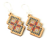 Cross Stitch Jewelry Kit - DIY Bamboo Earring with Interlocking Diamond Pattern