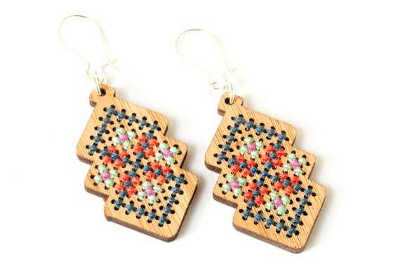 cross stitch jewelry kit diy bamboo earring with