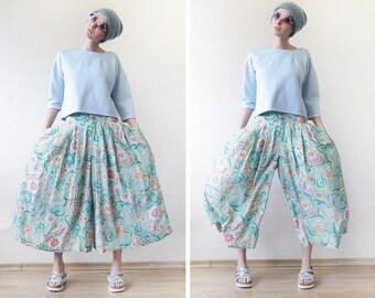 OILILY Vintage blue pink floral print wide leg high waist palazzo skirt capri short culottes pants XS-S