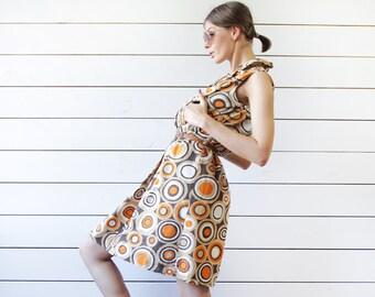 70s Vintage mod brown orange circle print cotton sleeveless shirt midi dress S M