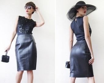 Black thick faux vegan leather high waist knee length tight fitted pencil midi skirt XS