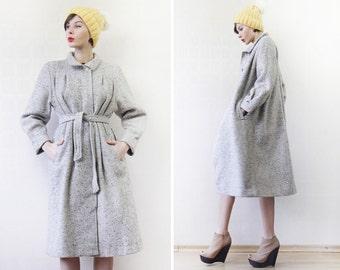 Vintage light grey wool belted knee length minimalist winter outerwear coat