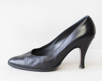 Vintage simple black Italian leather leather high heel pumps shoes 36 6