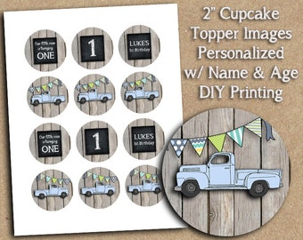 PERSONALIZED Blue or Red Vintage Truck Themed Birthday Party Printable - 2 inch Images - DIY Printing - Great for Cupcake Toppers