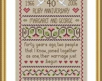 Ruby Wedding Anniversary Cross Stitch FULL KIT