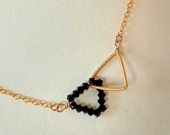Black Swarovski necklace, Conected Triangles necklace, wire wrapped, delicate necklace, gift for mom, litleTriangles necklace, girl gift