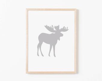 Gray Moose Nursery Art. Nursery Wall Art. Nursery Prints. Animal Wall Art. Boy Wall Art. Adventure Nursery. Moose Print. Instant Download.
