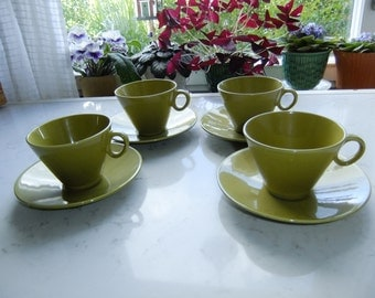 Vintage Swedish set of four tea cups and saucers - Siam Gustavsberg - Stig Lindberg design