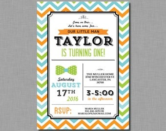 Orange Green Blue Birthday Invitation first MB03 Digital or Printed