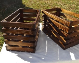Two reclaimed Wooden Storage Crate With Burnt Wood Design and English Chestnut Stain, Home Decor, Wedding Decor, Kitchen Decor